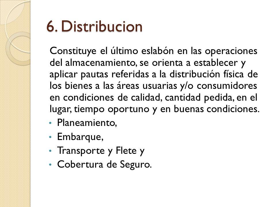 6. Distribucion Constituye el último eslabón en las operaciones del almacenamiento, se orienta a establecer y aplicar pautas referidas a la distribuci