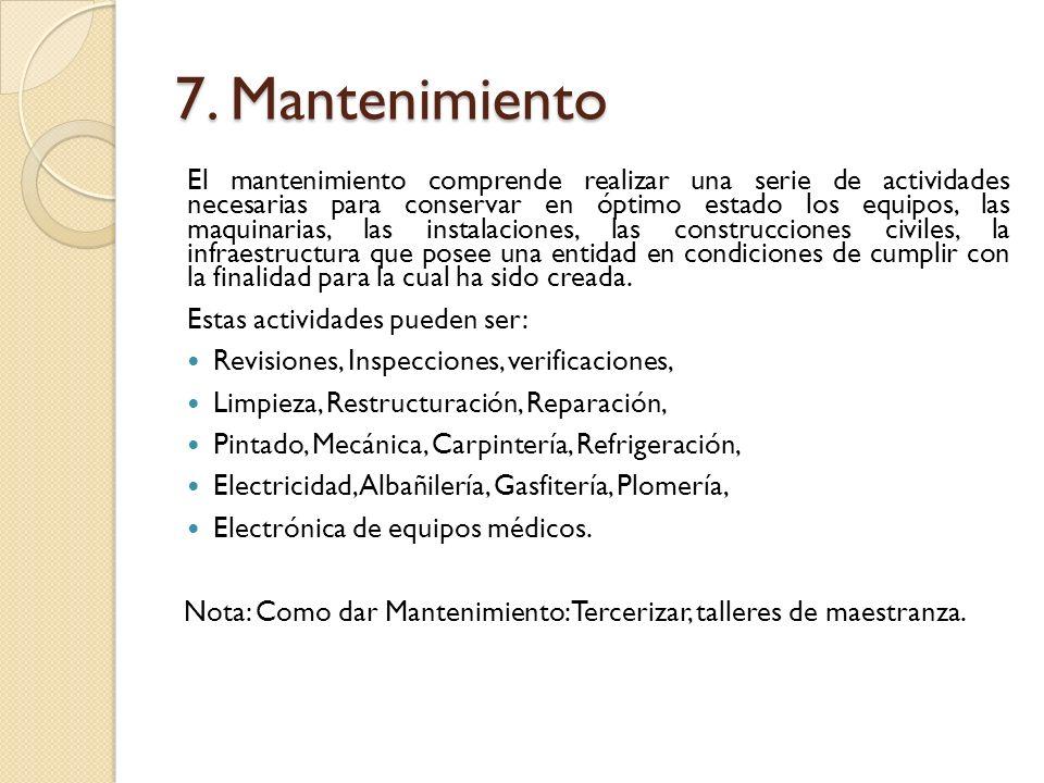 7. Mantenimiento El mantenimiento comprende realizar una serie de actividades necesarias para conservar en óptimo estado los equipos, las maquinarias,