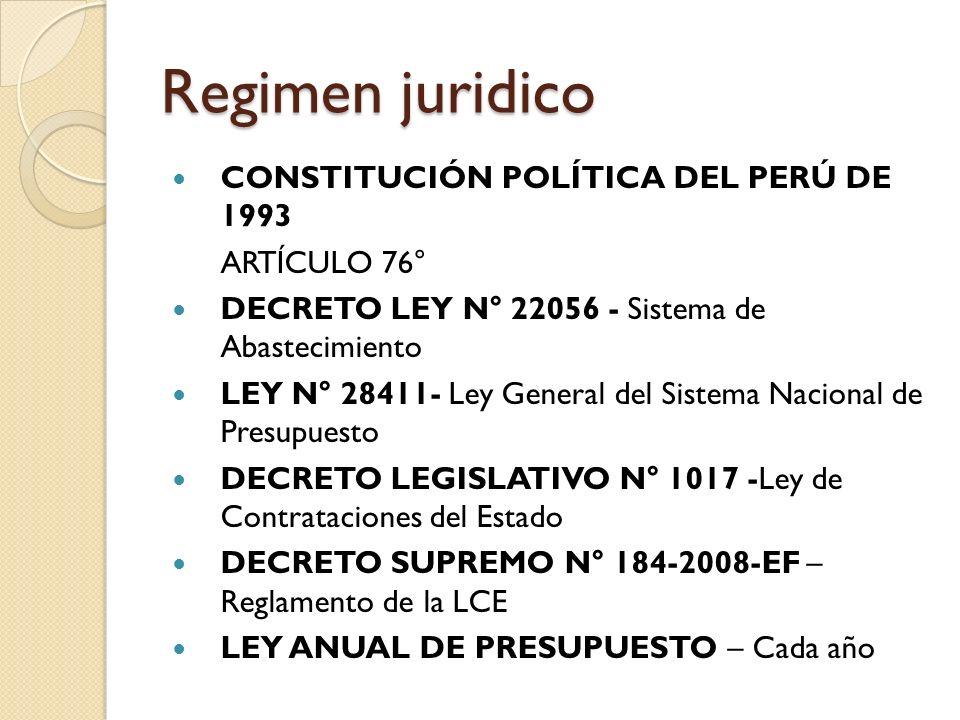 Regimen juridico CONSTITUCIÓN POLÍTICA DEL PERÚ DE 1993 ARTÍCULO 76° DECRETO LEY N° 22056 - Sistema de Abastecimiento LEY N° 28411- Ley General del Si