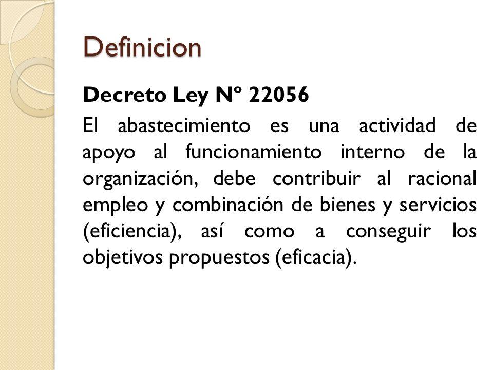 Definicion Decreto Ley Nº 22056 El abastecimiento es una actividad de apoyo al funcionamiento interno de la organización, debe contribuir al racional