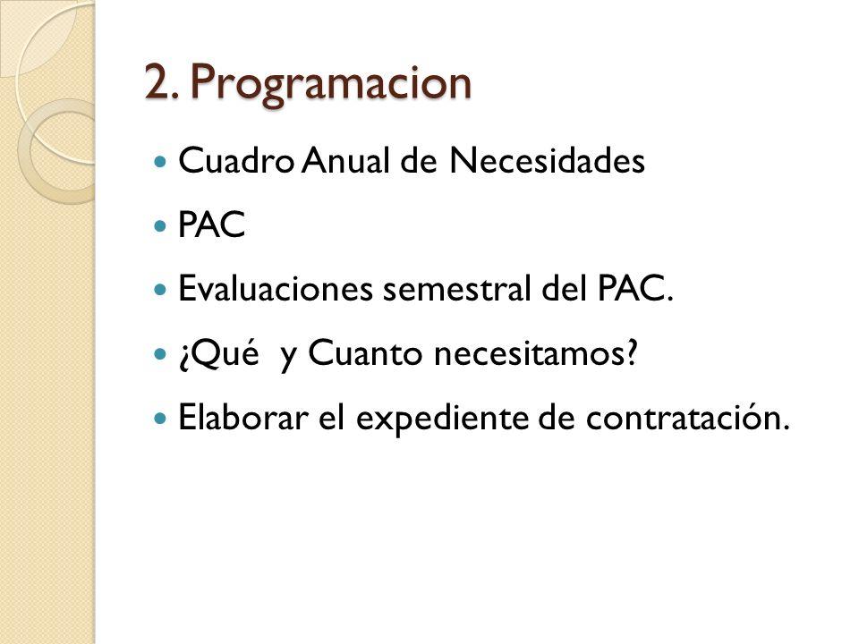 2. Programacion Cuadro Anual de Necesidades PAC Evaluaciones semestral del PAC. ¿Qué y Cuanto necesitamos? Elaborar el expediente de contratación.