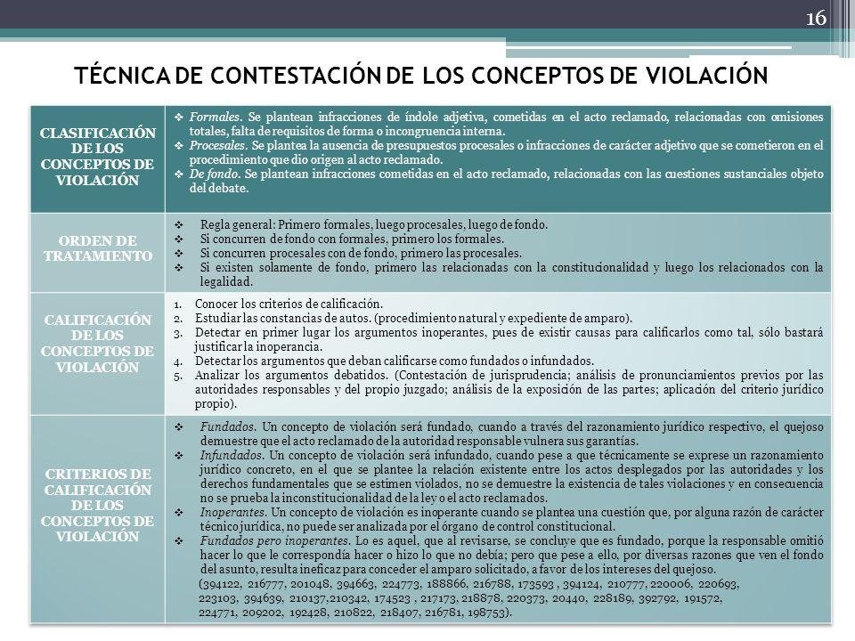 TÉCNICA DE CONTESTACIÓN DE LOS CONCEPTOS DE VIOLACIÓN 16