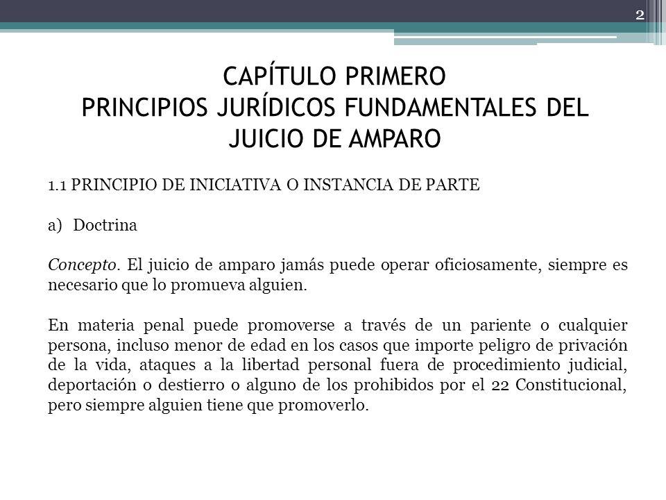 CAPÍTULO PRIMERO PRINCIPIOS JURÍDICOS FUNDAMENTALES DEL JUICIO DE AMPARO 2 1.1 PRINCIPIO DE INICIATIVA O INSTANCIA DE PARTE a)Doctrina Concepto. El ju