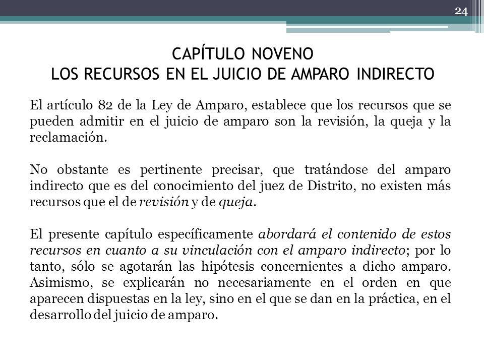 CAPÍTULO NOVENO LOS RECURSOS EN EL JUICIO DE AMPARO INDIRECTO 24 El artículo 82 de la Ley de Amparo, establece que los recursos que se pueden admitir