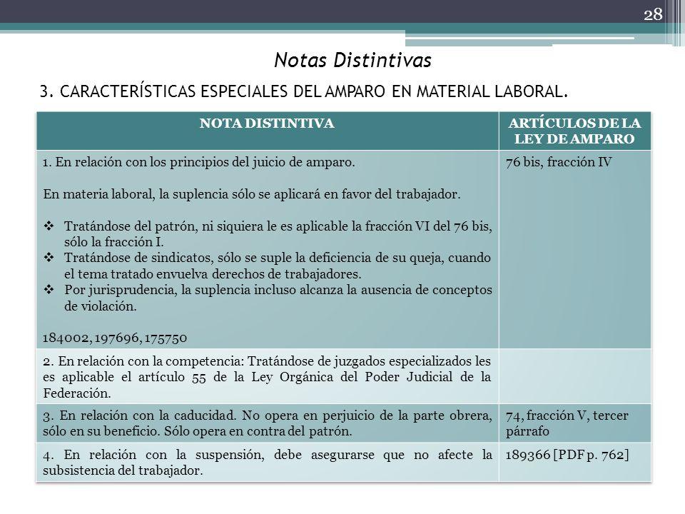 Notas Distintivas 28 3. CARACTERÍSTICAS ESPECIALES DEL AMPARO EN MATERIAL LABORAL.