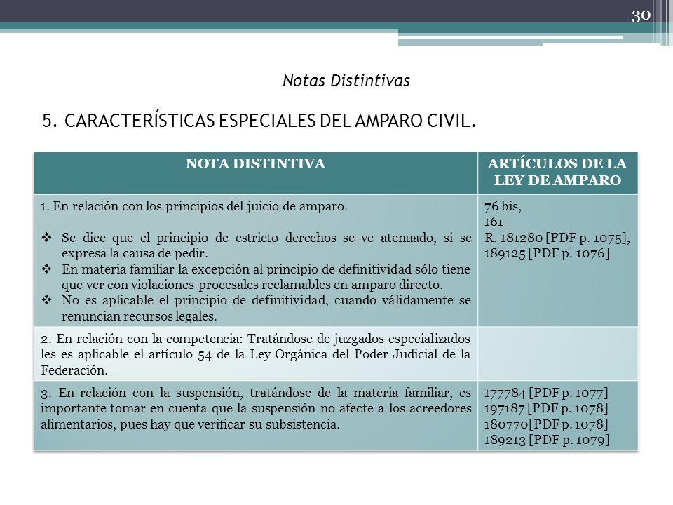 Notas Distintivas 30 5. CARACTERÍSTICAS ESPECIALES DEL AMPARO CIVIL.