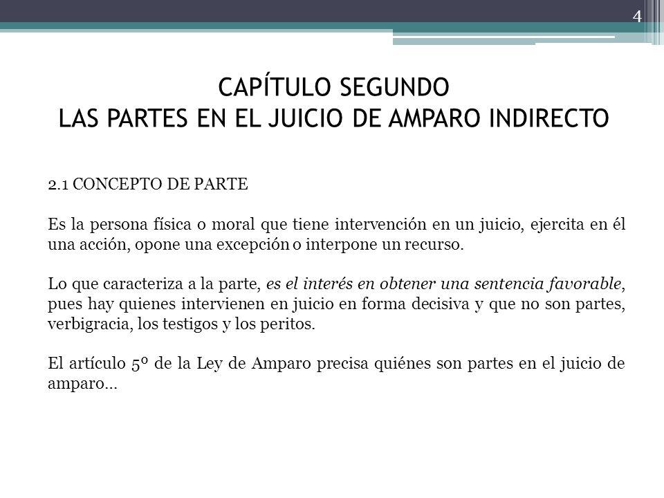 CAPÍTULO SEGUNDO LAS PARTES EN EL JUICIO DE AMPARO INDIRECTO 4 2.1 CONCEPTO DE PARTE Es la persona física o moral que tiene intervención en un juicio,