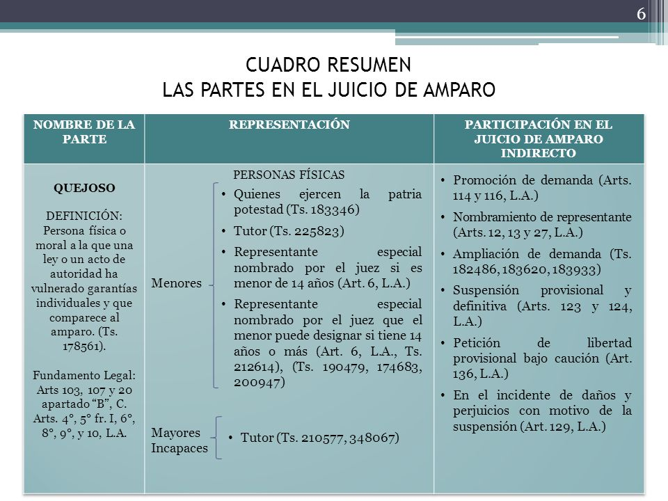 CUADRO RESUMEN LAS PARTES EN EL JUICIO DE AMPARO 6 Quienes ejercen la patria potestad (Ts. 183346) Tutor (Ts. 225823) Representante especial nombrado