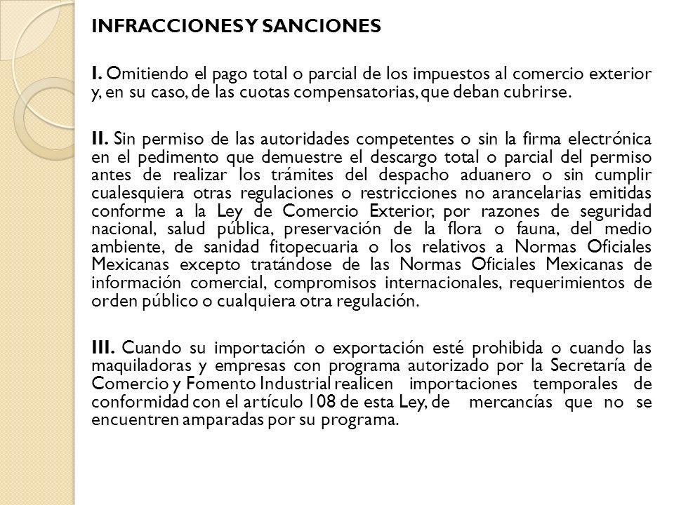 INFRACCIONES Y SANCIONES I. Omitiendo el pago total o parcial de los impuestos al comercio exterior y, en su caso, de las cuotas compensatorias, que d