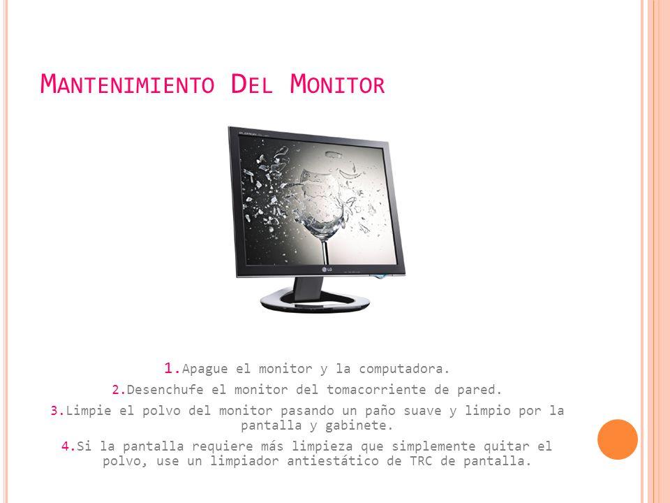 M ANTENIMIENTO D EL M ONITOR 1.Apague el monitor y la computadora.