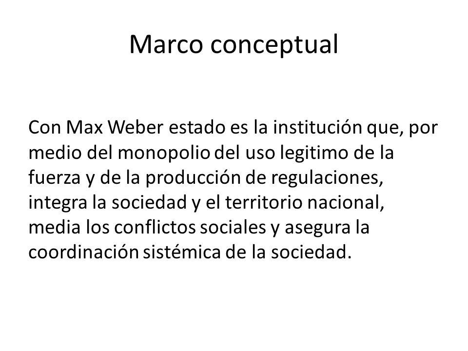 Marco conceptual Con Max Weber estado es la institución que, por medio del monopolio del uso legitimo de la fuerza y de la producción de regulaciones, integra la sociedad y el territorio nacional, media los conflictos sociales y asegura la coordinación sistémica de la sociedad.
