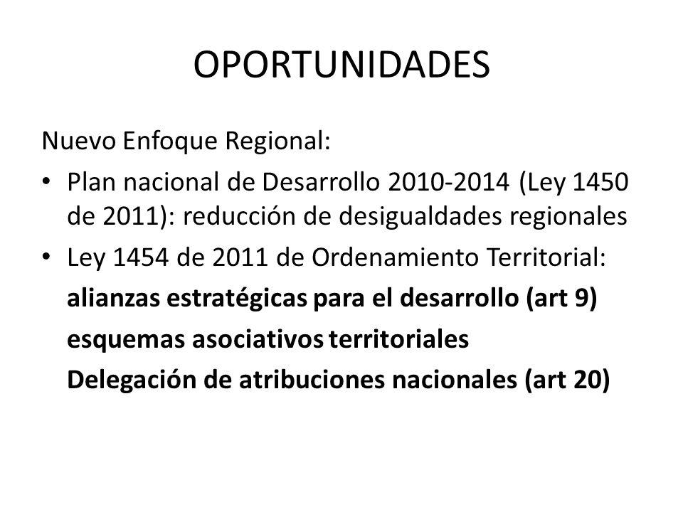 OPORTUNIDADES Nuevo Enfoque Regional: Plan nacional de Desarrollo 2010-2014 (Ley 1450 de 2011): reducción de desigualdades regionales Ley 1454 de 2011 de Ordenamiento Territorial: alianzas estratégicas para el desarrollo (art 9) esquemas asociativos territoriales Delegación de atribuciones nacionales (art 20)
