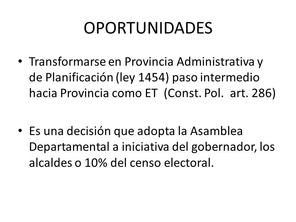OPORTUNIDADES Transformarse en Provincia Administrativa y de Planificación (ley 1454) paso intermedio hacia Provincia como ET (Const. Pol. art. 286) E