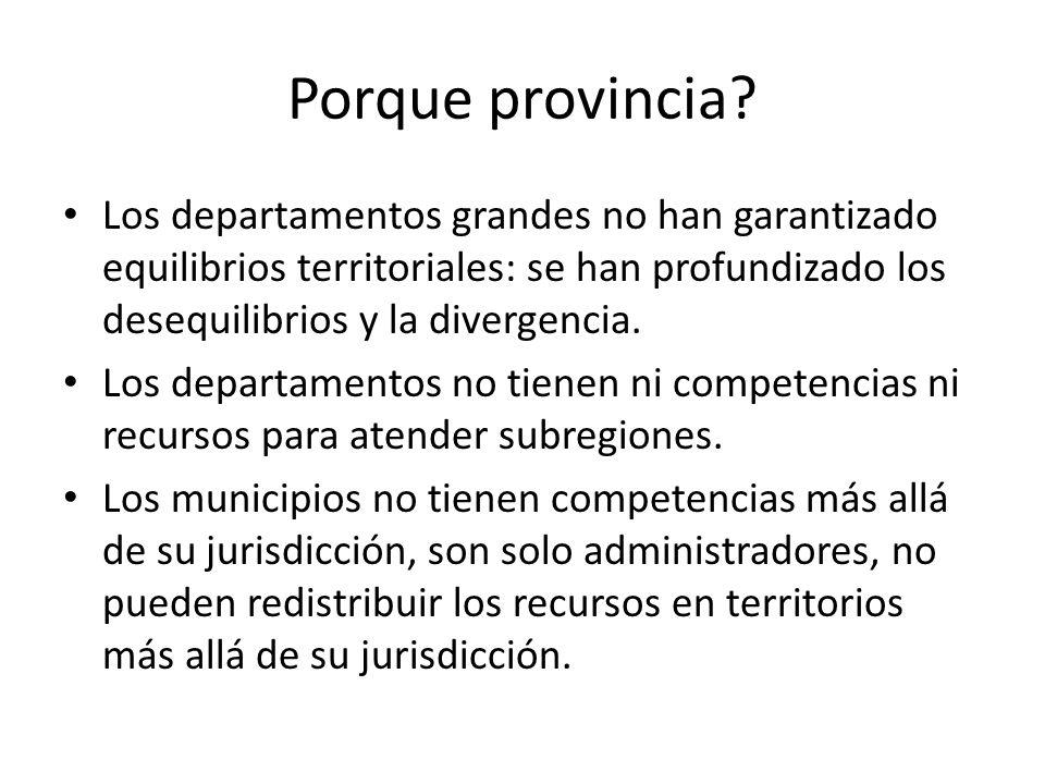 Porque provincia? Los departamentos grandes no han garantizado equilibrios territoriales: se han profundizado los desequilibrios y la divergencia. Los