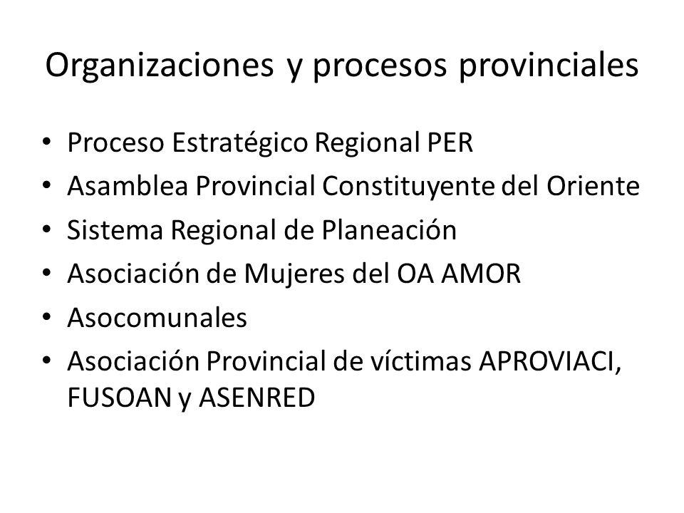 Organizaciones y procesos provinciales Proceso Estratégico Regional PER Asamblea Provincial Constituyente del Oriente Sistema Regional de Planeación A