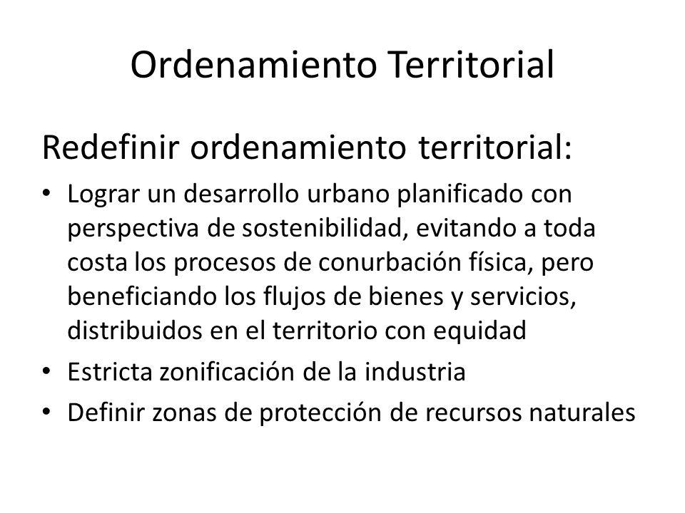 Ordenamiento Territorial Redefinir ordenamiento territorial: Lograr un desarrollo urbano planificado con perspectiva de sostenibilidad, evitando a tod