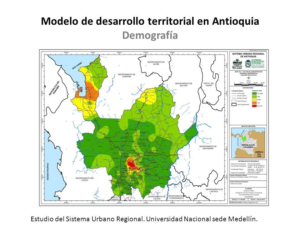 Modelo de desarrollo territorial en Antioquia Demografía Estudio del Sistema Urbano Regional. Universidad Nacional sede Medellín.
