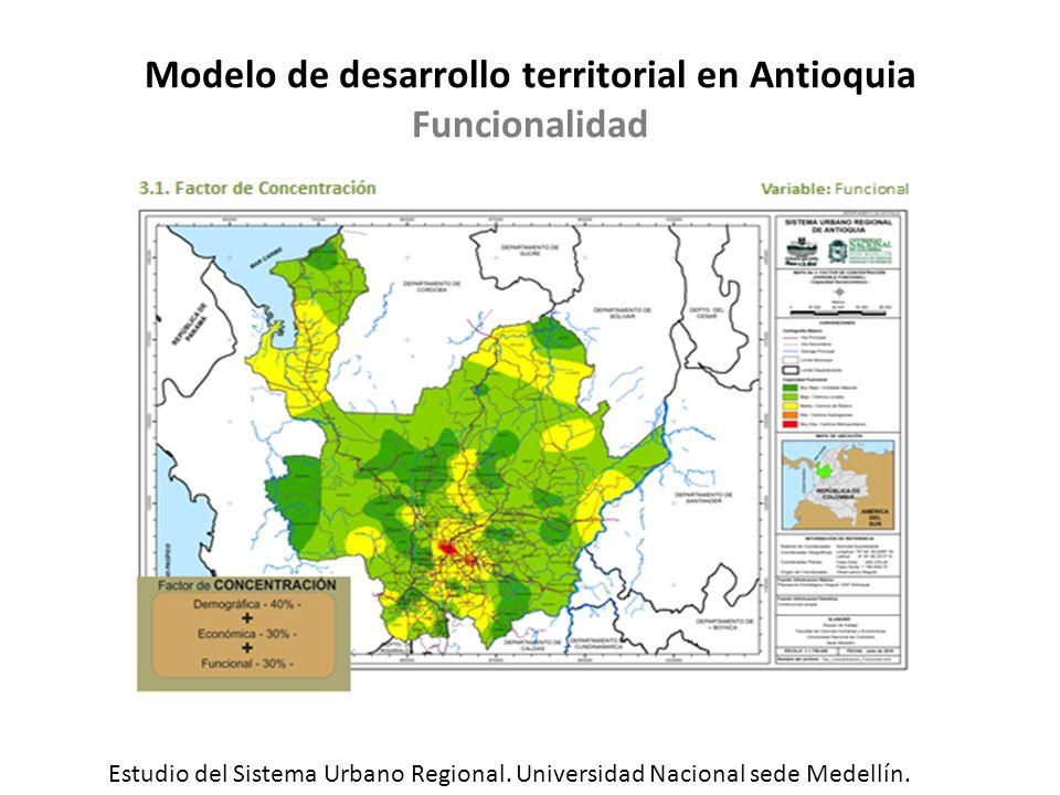 Modelo de desarrollo territorial en Antioquia Funcionalidad Estudio del Sistema Urbano Regional. Universidad Nacional sede Medellín.
