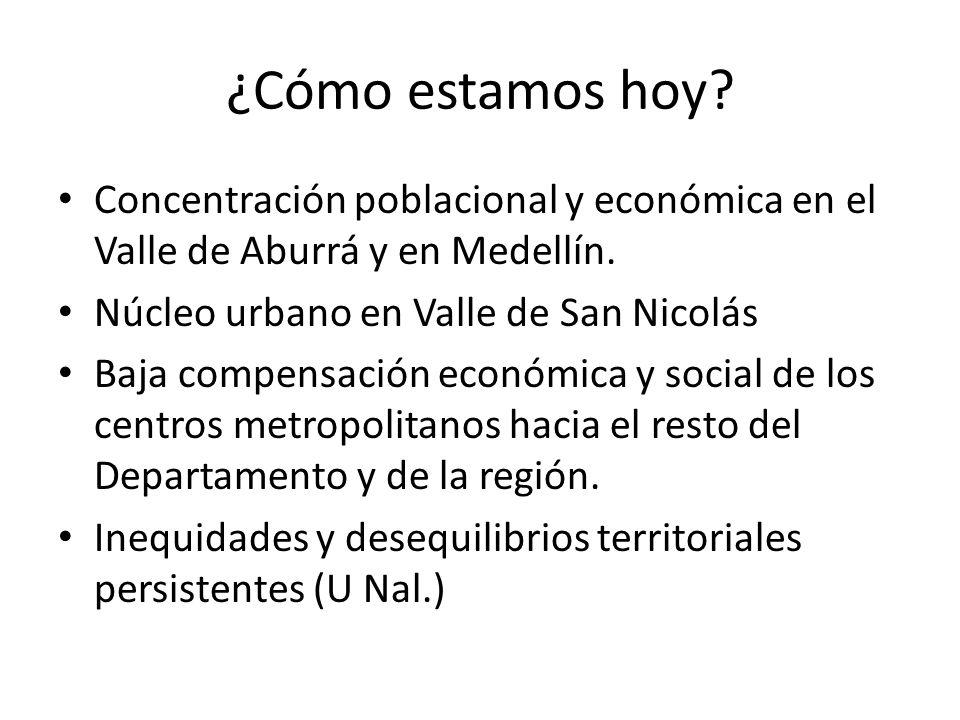 ¿Cómo estamos hoy? Concentración poblacional y económica en el Valle de Aburrá y en Medellín. Núcleo urbano en Valle de San Nicolás Baja compensación