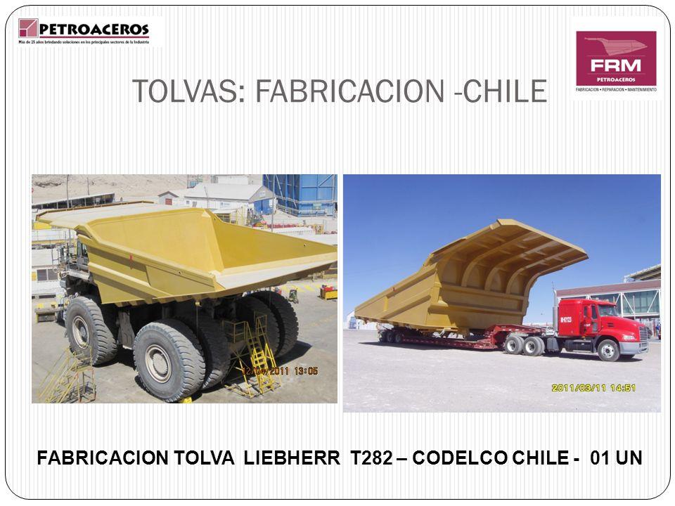 FABRICACION TOLVA LIEBHERR T282 – CODELCO CHILE - 01 UN TOLVAS: FABRICACION -CHILE