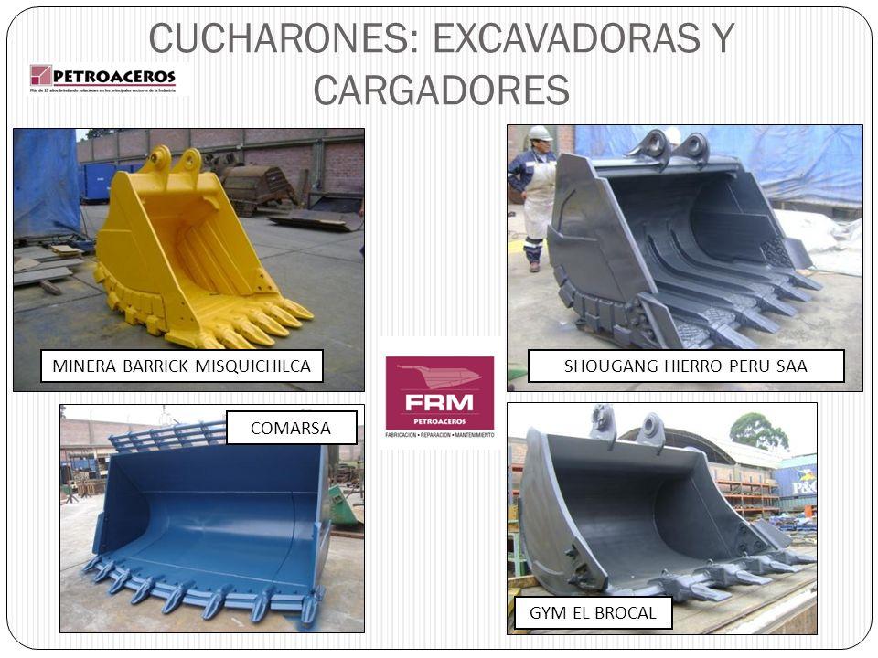 CUCHARONES: EXCAVADORAS Y CARGADORES MINERA BARRICK MISQUICHILCASHOUGANG HIERRO PERU SAA COMARSA GYM EL BROCAL