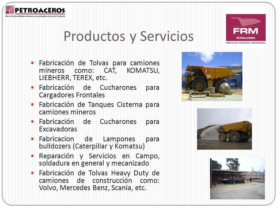 Productos y Servicios Fabricación de Tolvas para camiones mineros como: CAT, KOMATSU, LIEBHERR, TEREX, etc. Fabricación de Cucharones para Cargadores