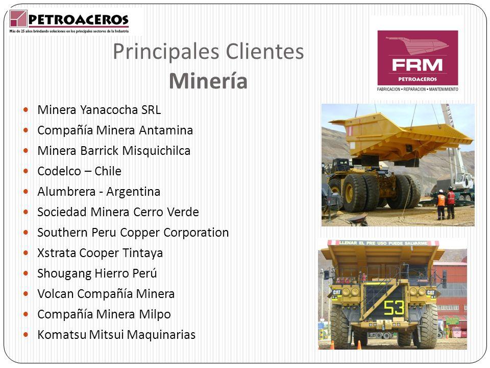 Principales Clientes Minería Minera Yanacocha SRL Compañía Minera Antamina Minera Barrick Misquichilca Codelco – Chile Alumbrera - Argentina Sociedad