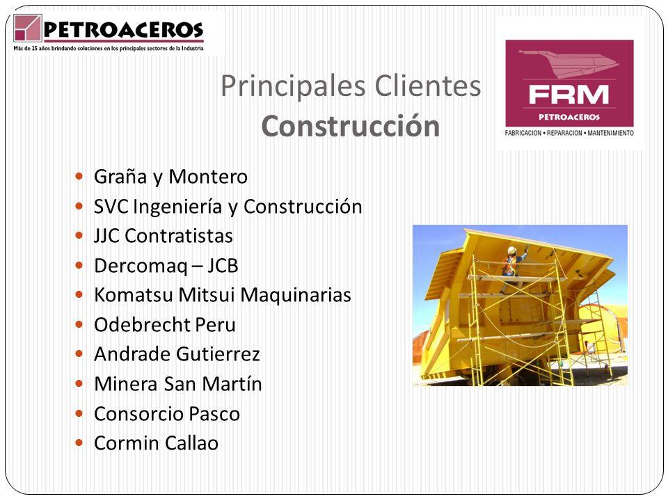 Principales Clientes Construcción Graña y Montero SVC Ingeniería y Construcción JJC Contratistas Dercomaq – JCB Komatsu Mitsui Maquinarias Odebrecht P