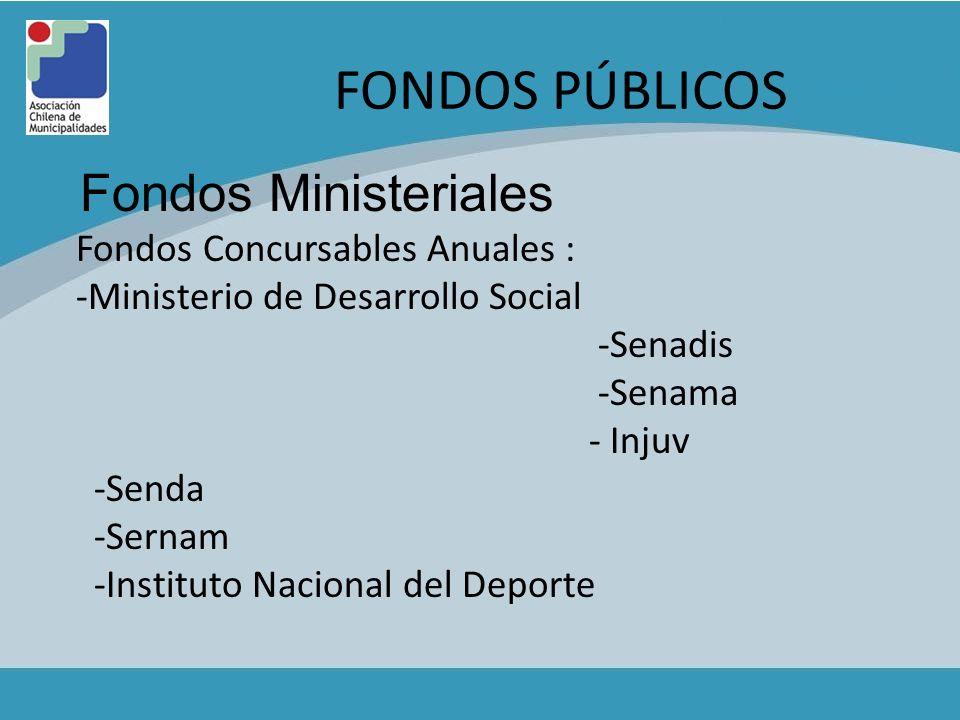 FONDOS PÚBLICOS Fondos Ministeriales Fondos Concursables Anuales : -Ministerio de Desarrollo Social -Senadis -Senama - Injuv -Senda -Sernam -Instituto