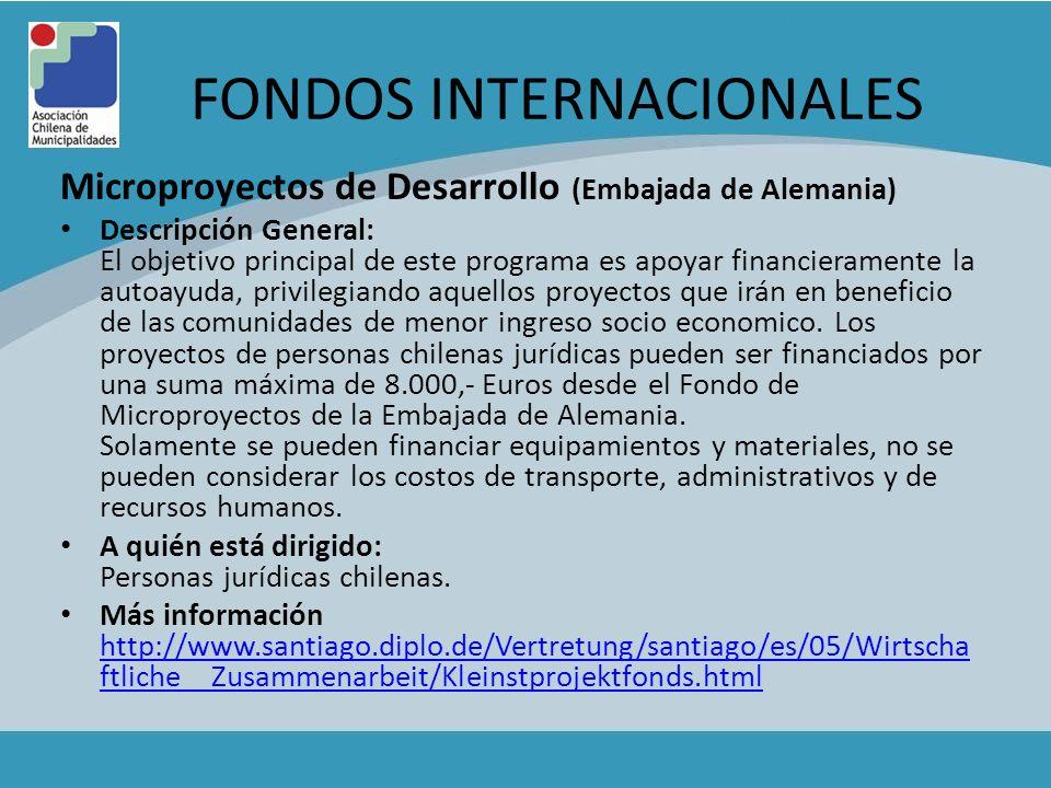 FONDOS INTERNACIONALES Microproyectos de Desarrollo (Embajada de Alemania) Descripción General: El objetivo principal de este programa es apoyar finan