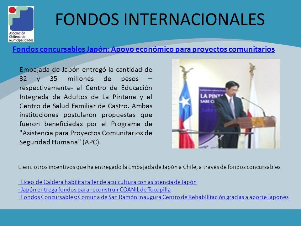 FONDOS INTERNACIONALES Ejem. otros incentivos que ha entregado la Embajada de Japón a Chile, a través de fondos concursables · Liceo de Caldera habili