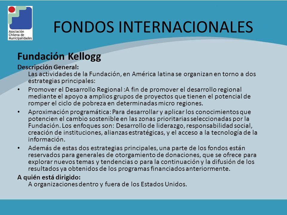 FONDOS INTERNACIONALES Fundación Kellogg Descripción General: Las actividades de la Fundación, en América latina se organizan en torno a dos estrategi