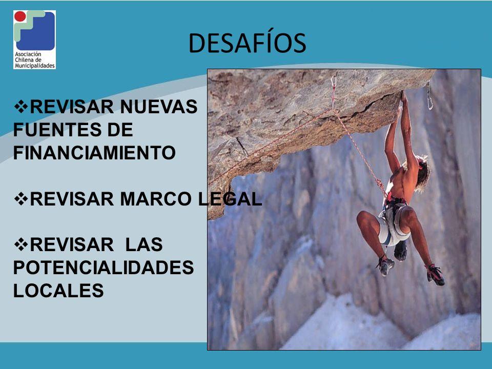 DESAFÍOS REVISAR NUEVAS FUENTES DE FINANCIAMIENTO REVISAR MARCO LEGAL REVISAR LAS POTENCIALIDADES LOCALES