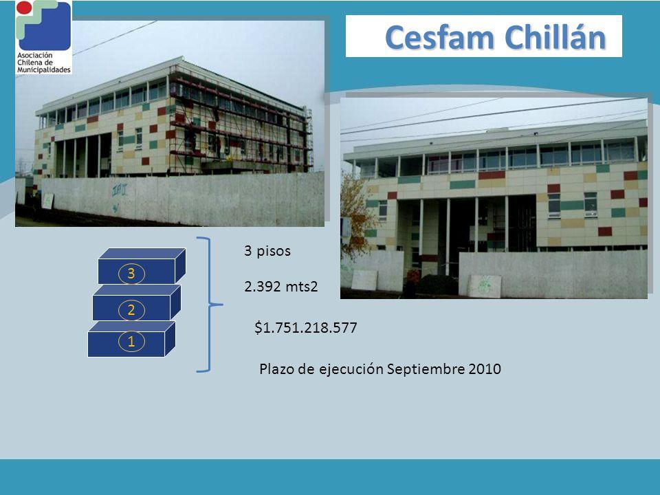 Cesfam Chillán 1 2 3 3 pisos 2.392 mts2 $1.751.218.577 Plazo de ejecución Septiembre 2010
