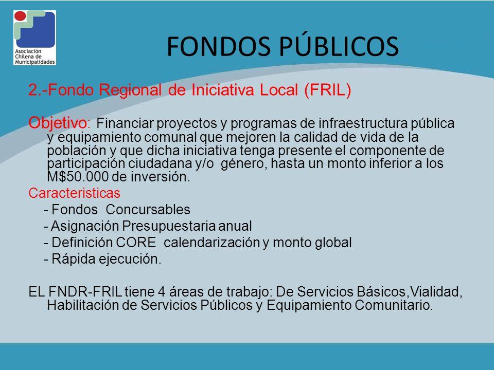 FONDOS PÚBLICOS 2.-Fondo Regional de Iniciativa Local (FRIL) Objetivo : Financiar proyectos y programas de infraestructura pública y equipamiento comu