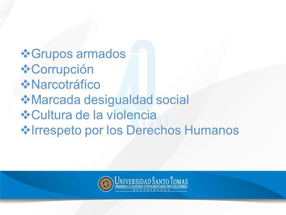 Grupos armados Corrupción Narcotráfico Marcada desigualdad social Cultura de la violencia Irrespeto por los Derechos Humanos