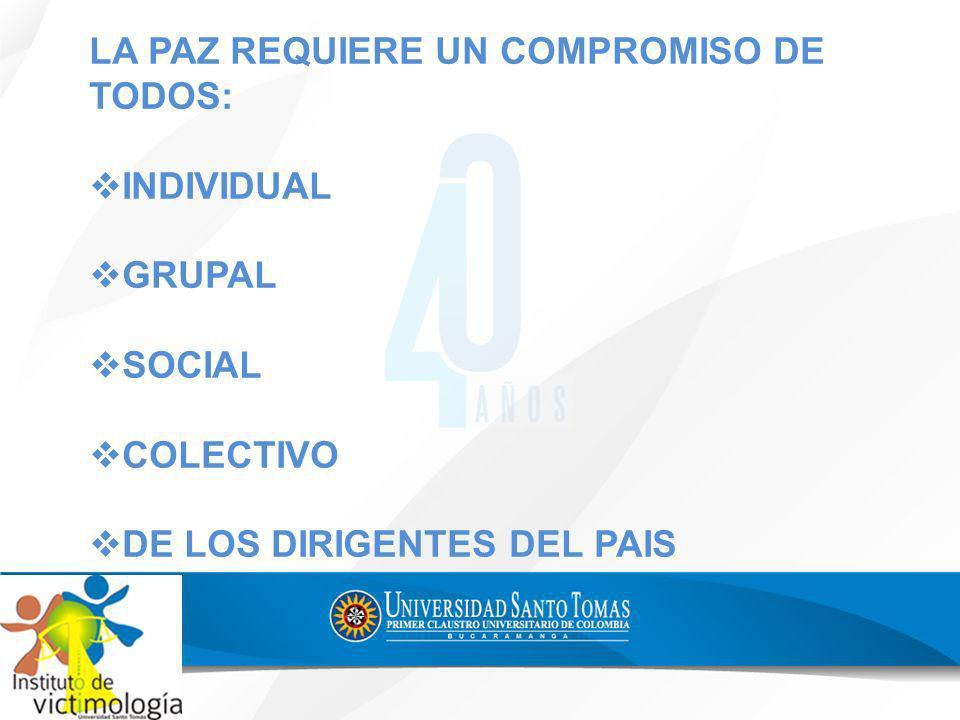 LA PAZ REQUIERE UN COMPROMISO DE TODOS: INDIVIDUAL GRUPAL SOCIAL COLECTIVO DE LOS DIRIGENTES DEL PAIS