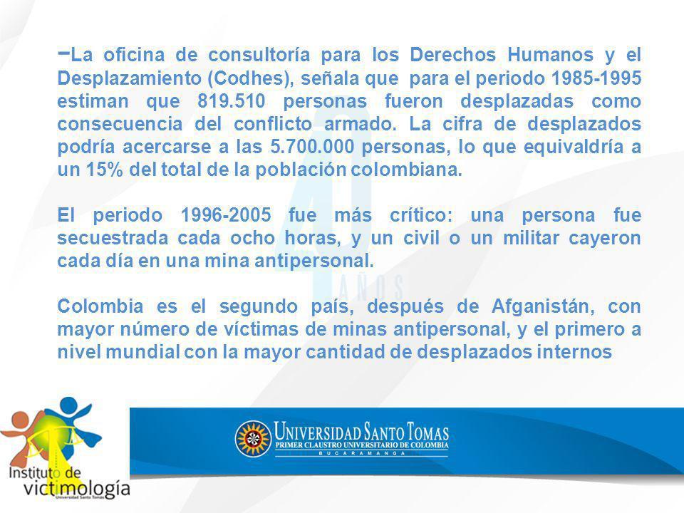 La oficina de consultoría para los Derechos Humanos y el Desplazamiento (Codhes), señala que para el periodo 1985-1995 estiman que 819.510 personas fu
