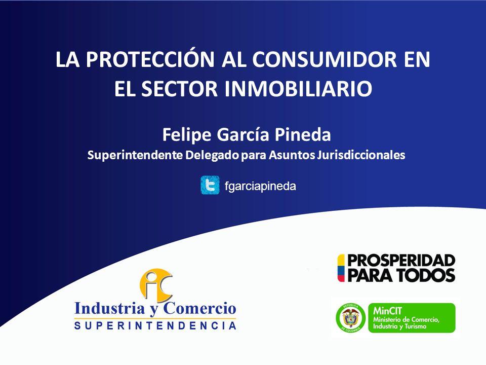 LA PROTECCIÓN AL CONSUMIDOR EN EL SECTOR INMOBILIARIO Felipe García Pineda Superintendente Delegado para Asuntos Jurisdiccionales fgarciapineda