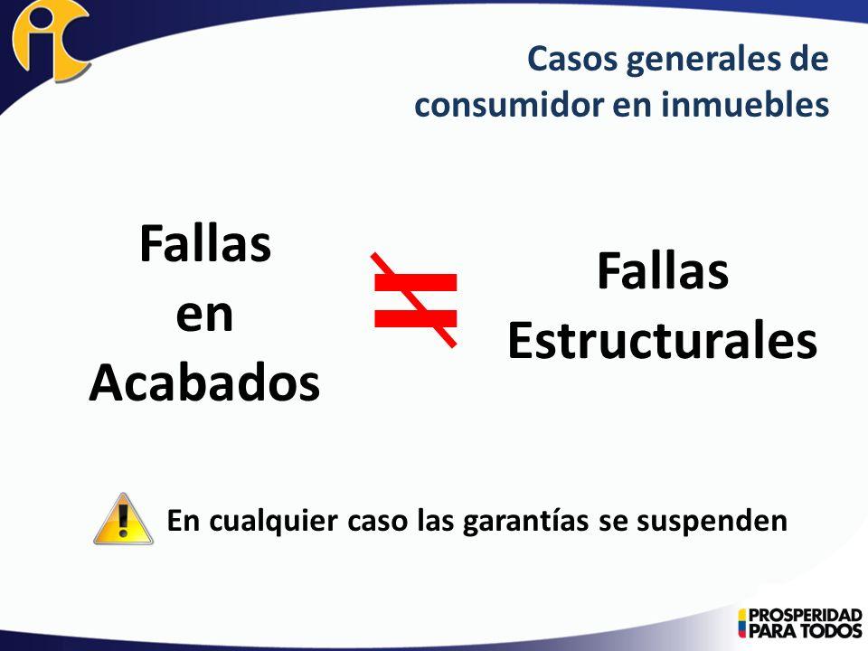 Casos generales de consumidor en inmuebles Fallas en Acabados Fallas Estructurales En cualquier caso las garantías se suspenden