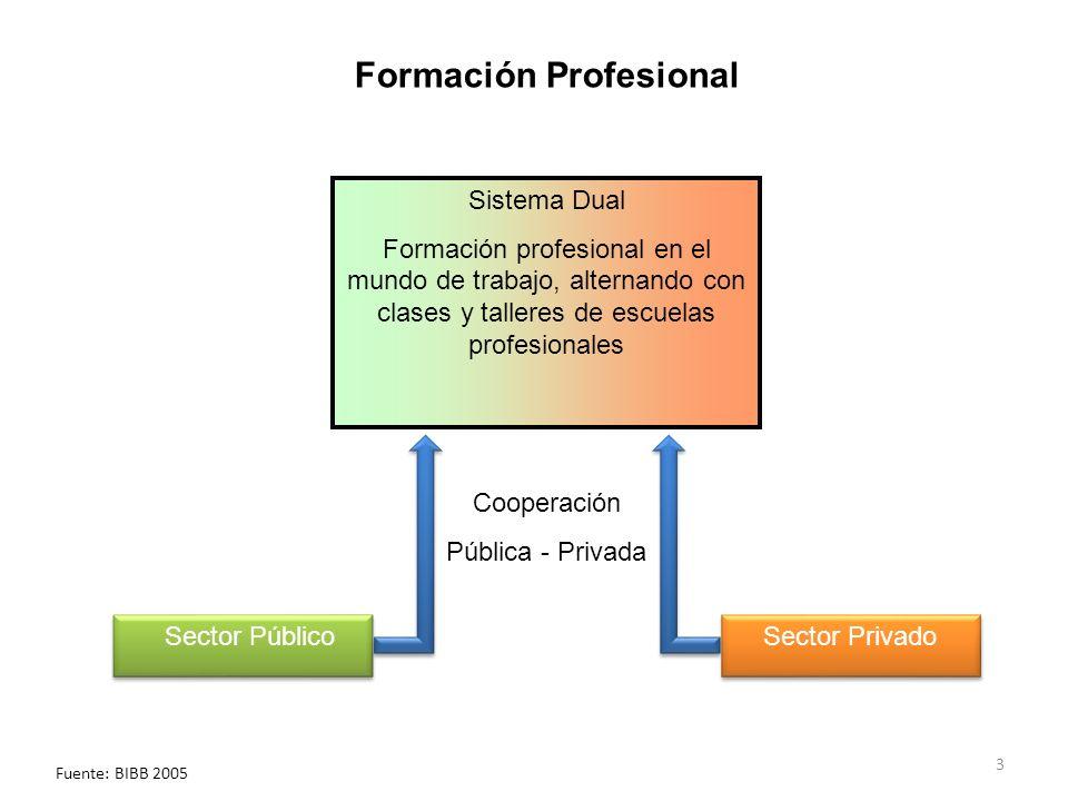 3 Sistema Dual Formación profesional en el mundo de trabajo, alternando con clases y talleres de escuelas profesionales Sector Privado Cooperación Pública - Privada Sector Público Formación Profesional Fuente: BIBB 2005