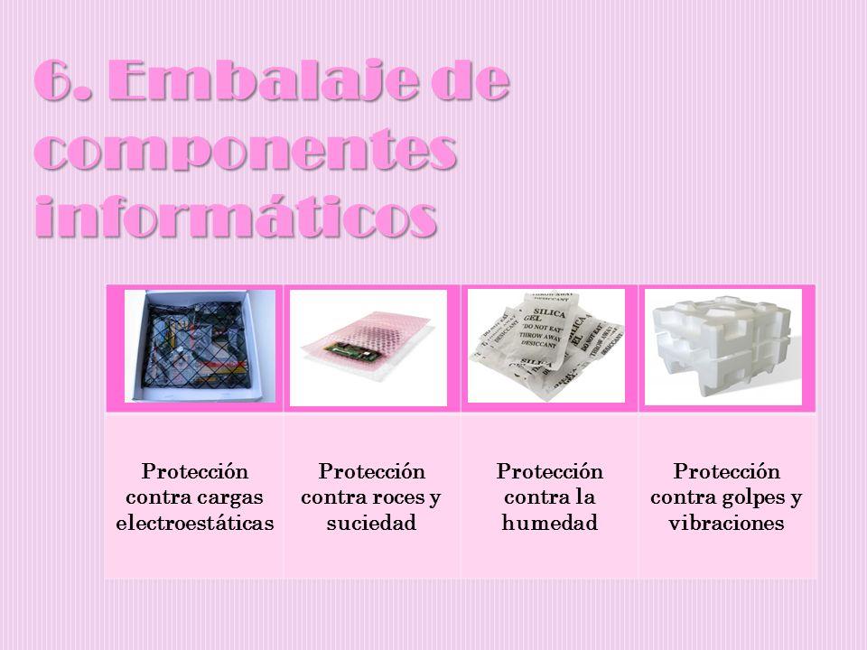 6. Embalaje de componentes informáticos Protección contra cargas electroestáticas Protección contra roces y suciedad Protección contra la humedad Prot