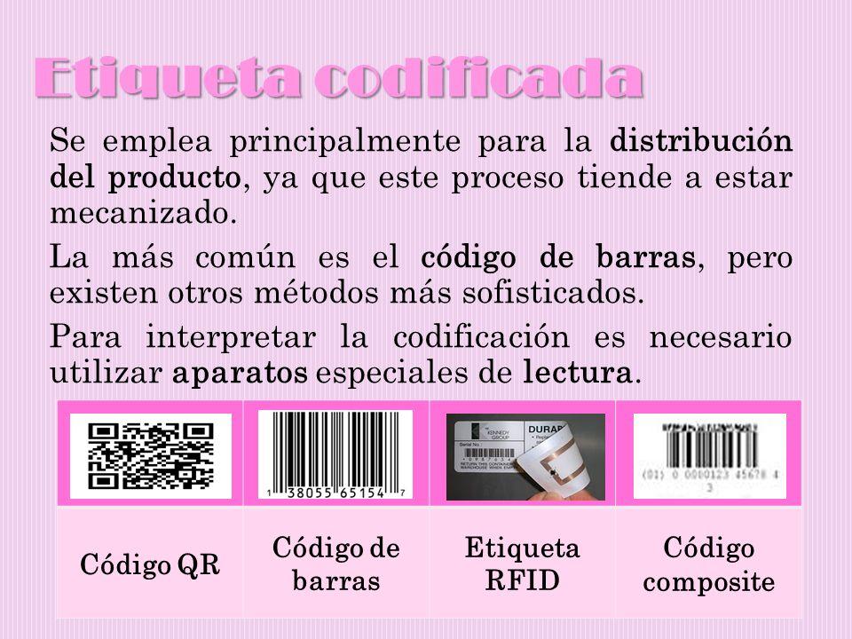 Etiqueta codificada Se emplea principalmente para la distribución del producto, ya que este proceso tiende a estar mecanizado. La más común es el códi