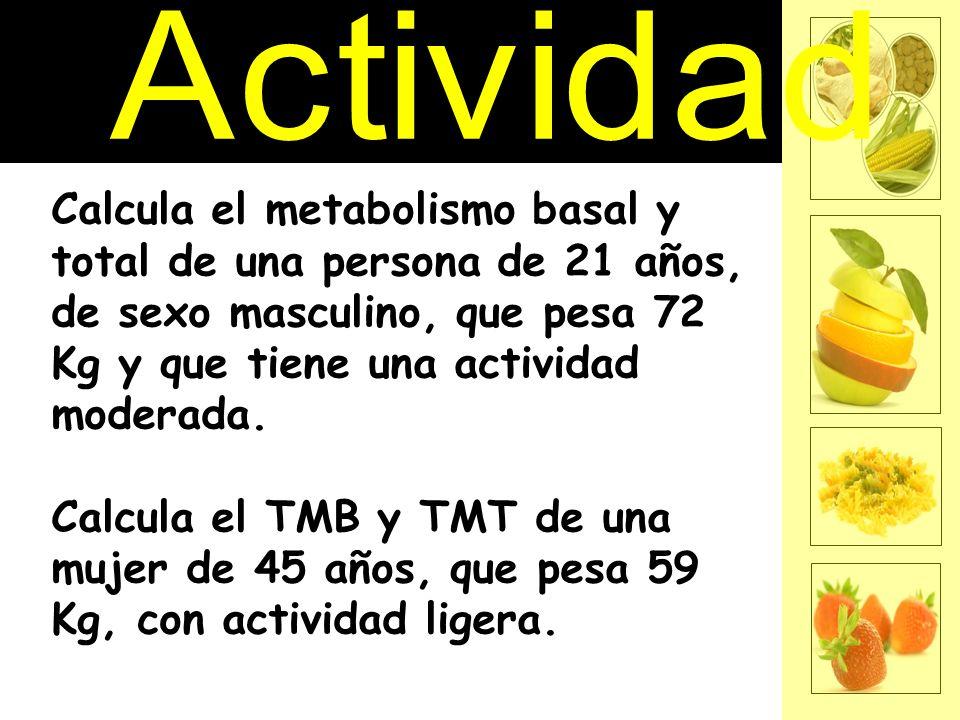 Calcula el metabolismo basal y total de una persona de 21 años, de sexo masculino, que pesa 72 Kg y que tiene una actividad moderada. Calcula el TMB y