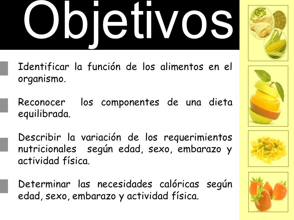 Identificar la función de los alimentos en el organismo. Reconocer los componentes de una dieta equilibrada. Describir la variación de los requerimien