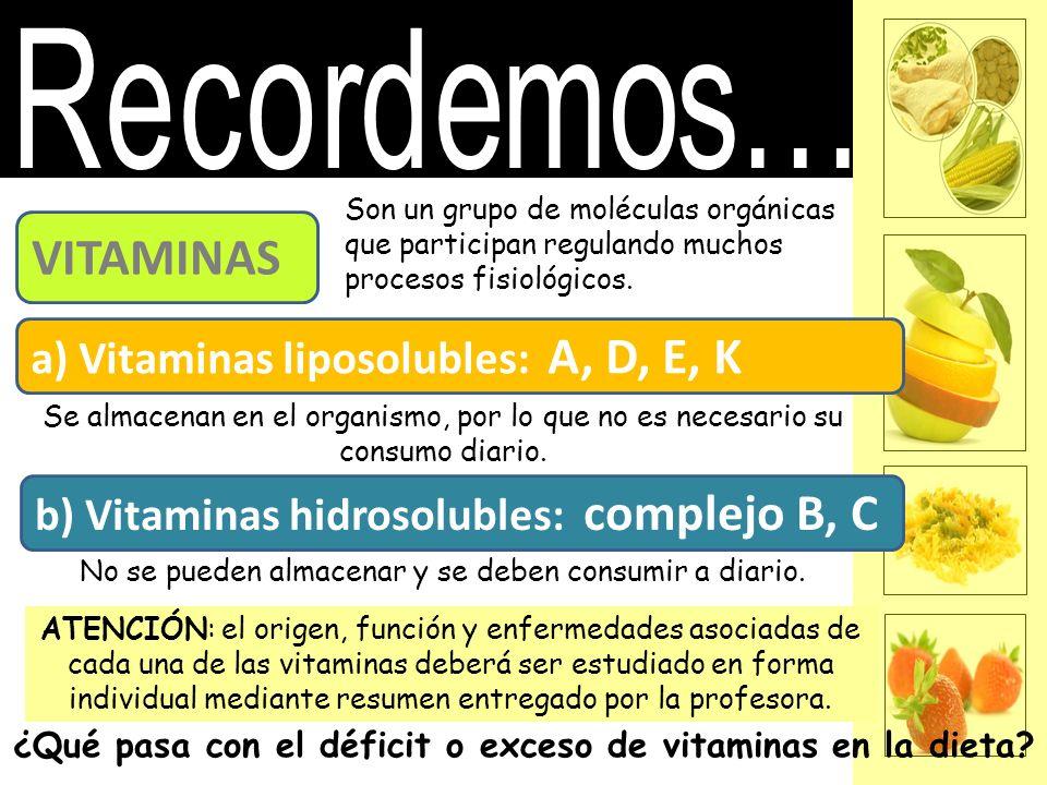 VITAMINAS Son un grupo de moléculas orgánicas que participan regulando muchos procesos fisiológicos. a) Vitaminas liposolubles: A, D, E, K b) Vitamina
