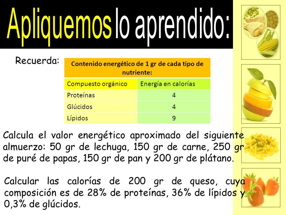 Recuerda: Contenido energético de 1 gr de cada tipo de nutriente: Compuesto orgánicoEnergía en calorías Proteínas4 Glúcidos4 Lípidos9 Calcula el valor
