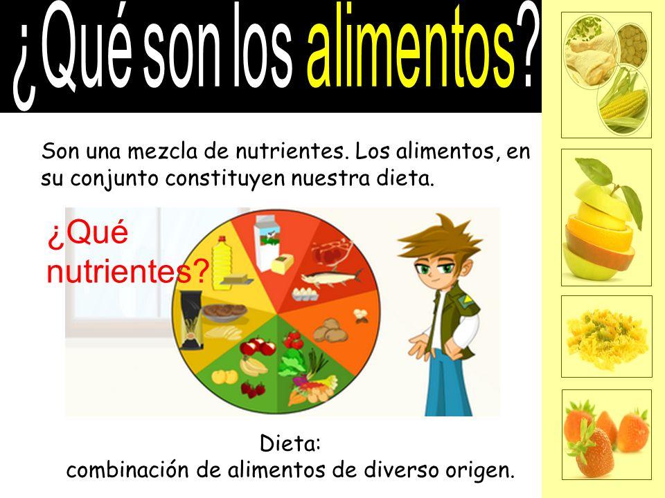 Son una mezcla de nutrientes. Los alimentos, en su conjunto constituyen nuestra dieta. Dieta: combinación de alimentos de diverso origen. ¿Qué nutrien