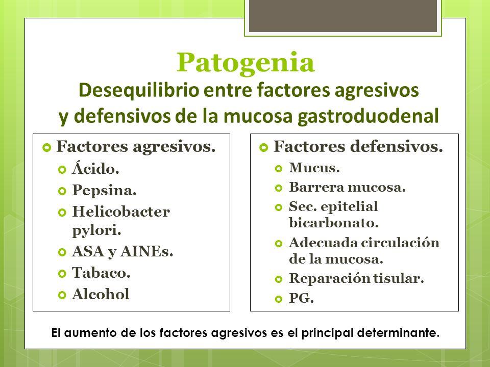 Patogenia Factores agresivos. Ácido. Pepsina. Helicobacter pylori. ASA y AINEs. Tabaco. Alcohol Factores defensivos. Mucus. Barrera mucosa. Sec. epite