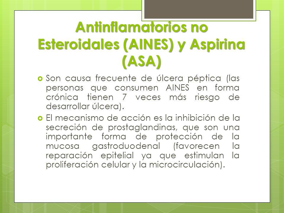 Antinflamatorios no Esteroidales (AINES) y Aspirina (ASA) Son causa frecuente de úlcera péptica (las personas que consumen AINES en forma crónica tien